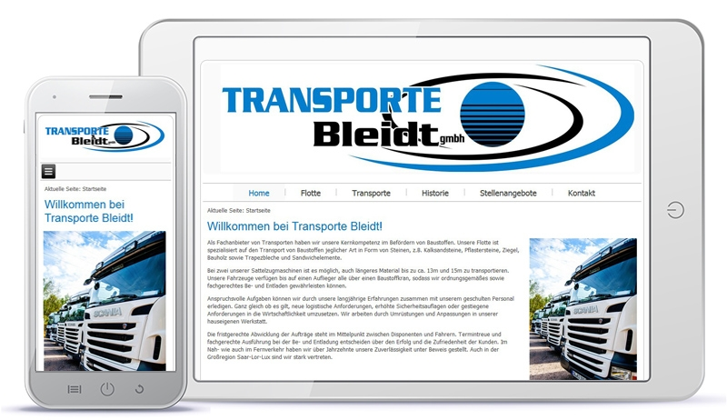 Relaunch der Website von Transporte Bleidt